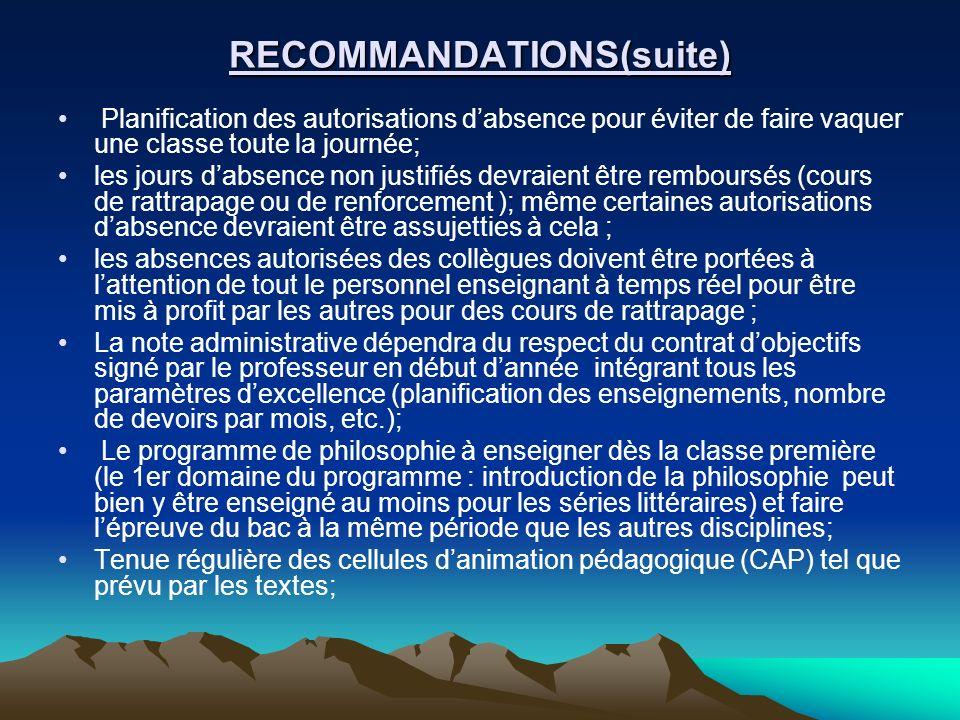 RECOMMANDATIONS(suite) Planification des autorisations dabsence pour éviter de faire vaquer une classe toute la journée; les jours dabsence non justif