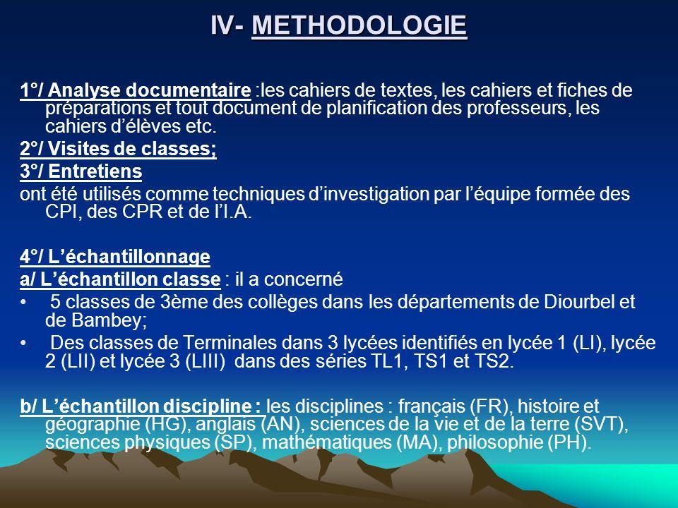 IV- METHODOLOGIE 1°/ Analyse documentaire :les cahiers de textes, les cahiers et fiches de préparations et tout document de planification des professe