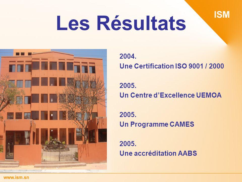 Les Résultats 2004. Une Certification ISO 9001 / 2000 2005. Un Centre dExcellence UEMOA 2005. Un Programme CAMES 2005. Une accréditation AABS