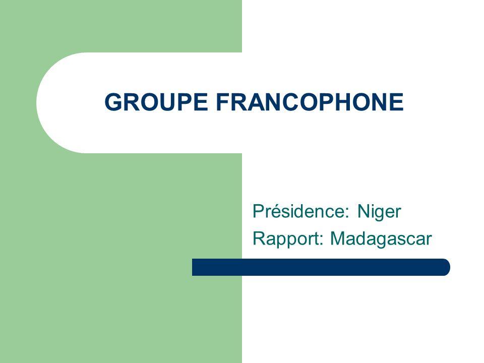 GROUPE FRANCOPHONE Présidence: Niger Rapport: Madagascar