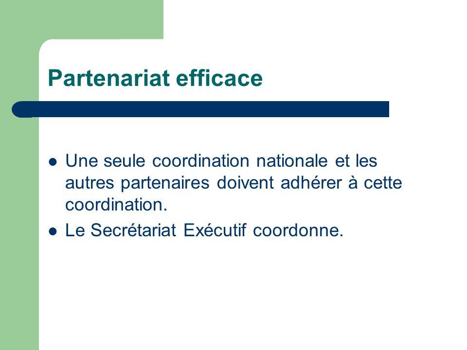 Partenariat efficace Une seule coordination nationale et les autres partenaires doivent adhérer à cette coordination. Le Secrétariat Exécutif coordonn