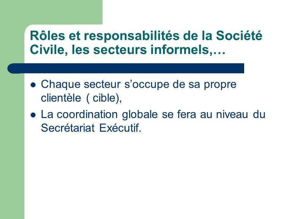 Rôles et responsabilités de la Société Civile, les secteurs informels,… Chaque secteur soccupe de sa propre clientèle ( cible), La coordination globale se fera au niveau du Secrétariat Exécutif.
