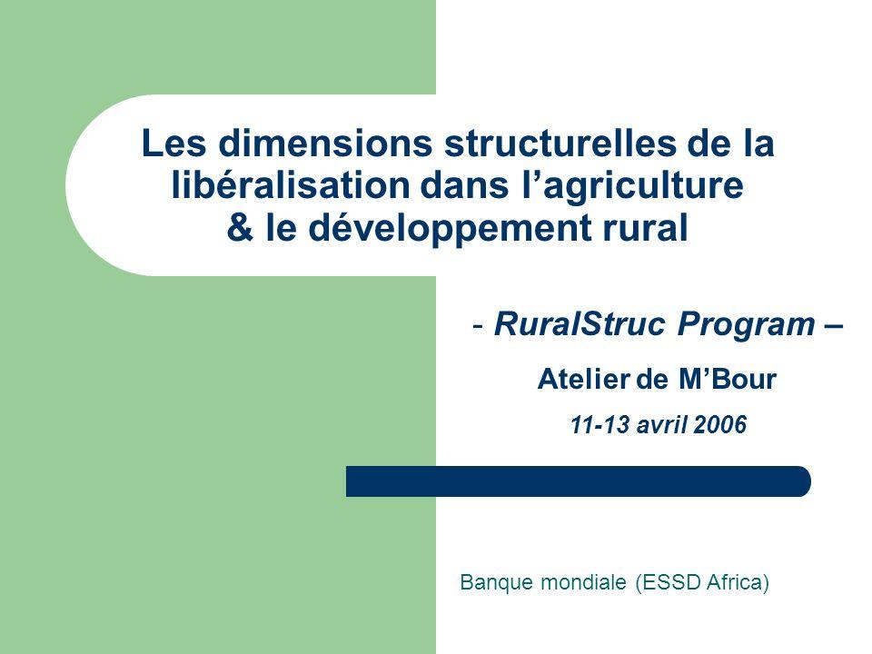 Les dimensions structurelles de la libéralisation dans lagriculture & le développement rural Banque mondiale (ESSD Africa) - RuralStruc Program – Atelier de MBour 11-13 avril 2006