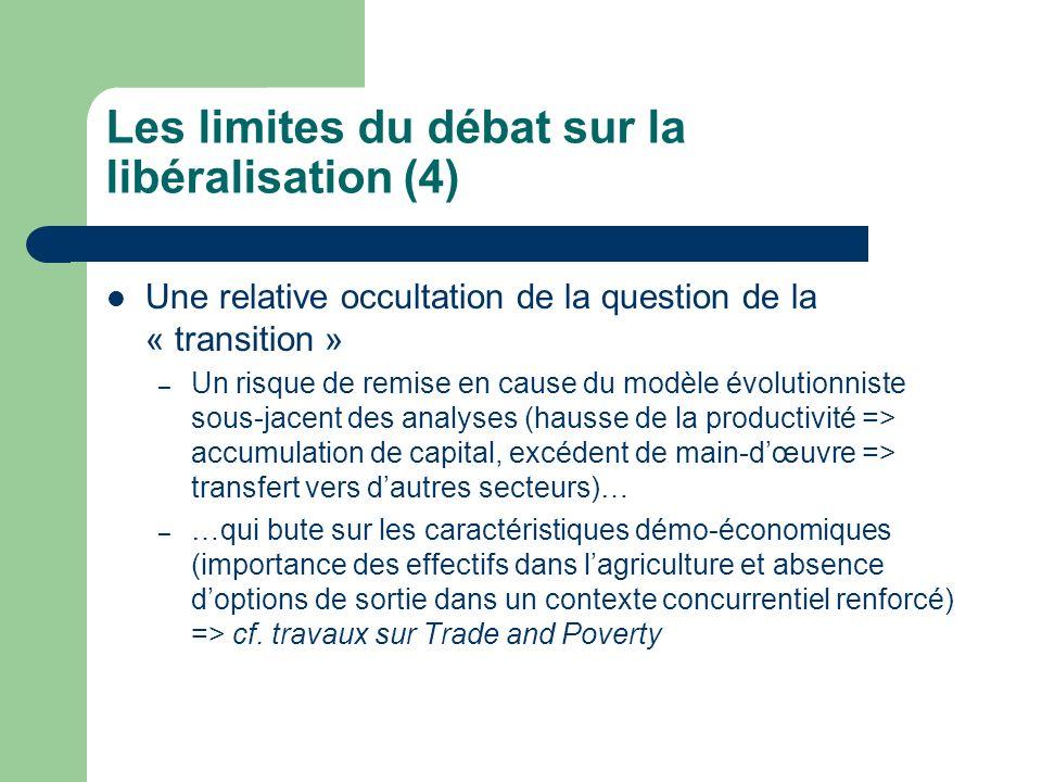 Les limites du débat sur la libéralisation (4) Une relative occultation de la question de la « transition » – Un risque de remise en cause du modèle évolutionniste sous-jacent des analyses (hausse de la productivité => accumulation de capital, excédent de main-dœuvre => transfert vers dautres secteurs)… – …qui bute sur les caractéristiques démo-économiques (importance des effectifs dans lagriculture et absence doptions de sortie dans un contexte concurrentiel renforcé) => cf.