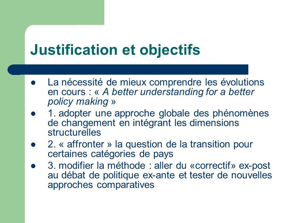 Justification et objectifs La nécessité de mieux comprendre les évolutions en cours : « A better understanding for a better policy making » 1.