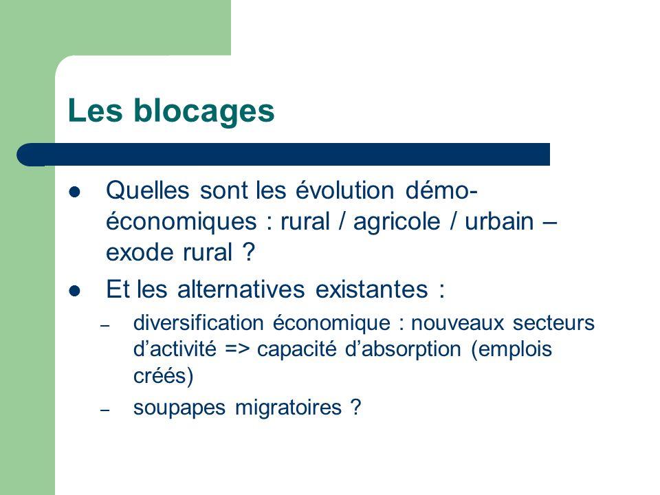 Les blocages Quelles sont les évolution démo- économiques : rural / agricole / urbain – exode rural .