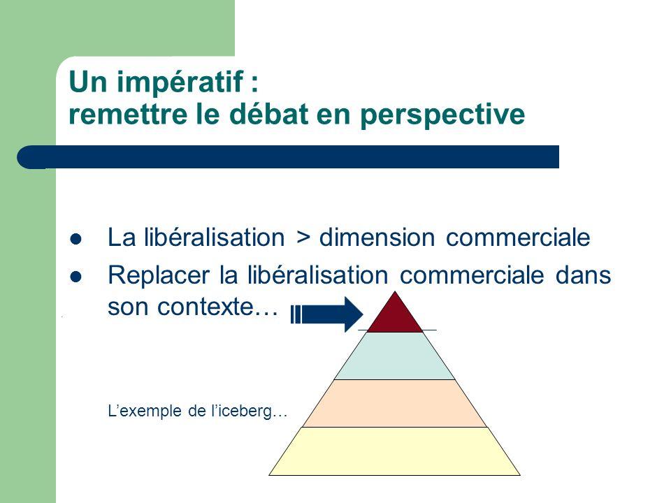Un impératif : remettre le débat en perspective La libéralisation > dimension commerciale Replacer la libéralisation commerciale dans son contexte… Lexemple de liceberg…