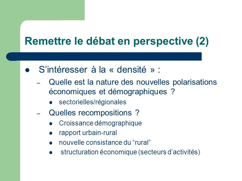 Remettre le débat en perspective (2) Sintéresser à la « densité » : – Quelle est la nature des nouvelles polarisations économiques et démographiques .