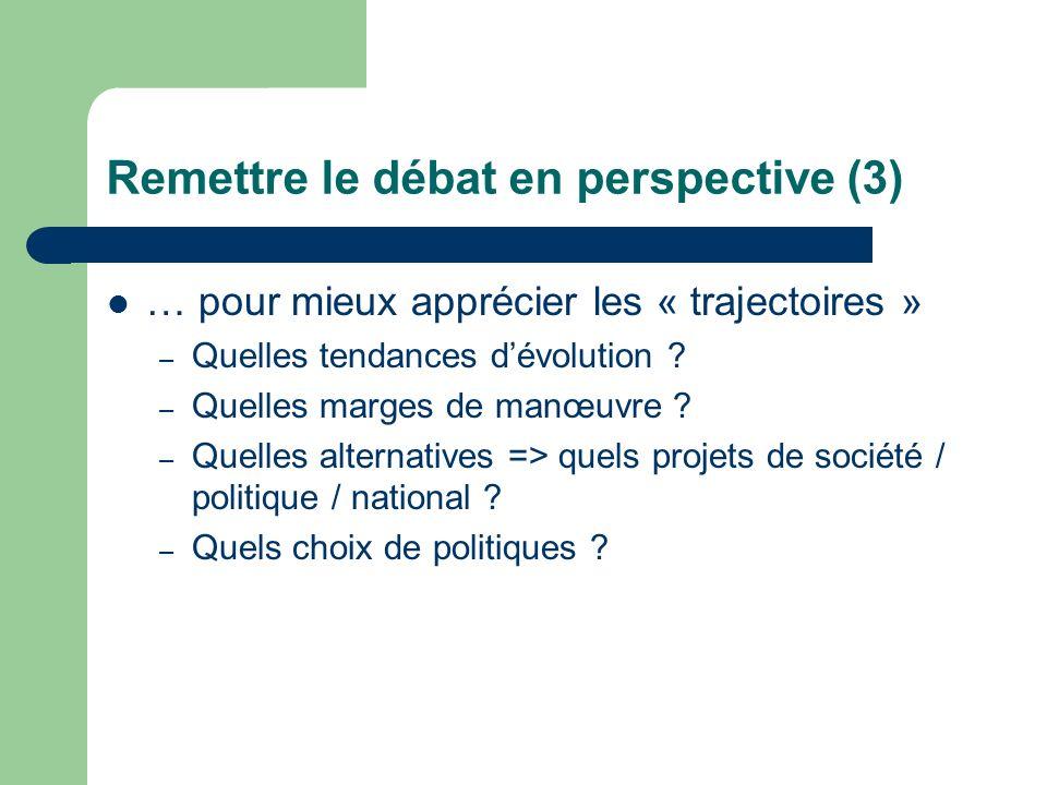 Remettre le débat en perspective (3) … pour mieux apprécier les « trajectoires » – Quelles tendances dévolution .