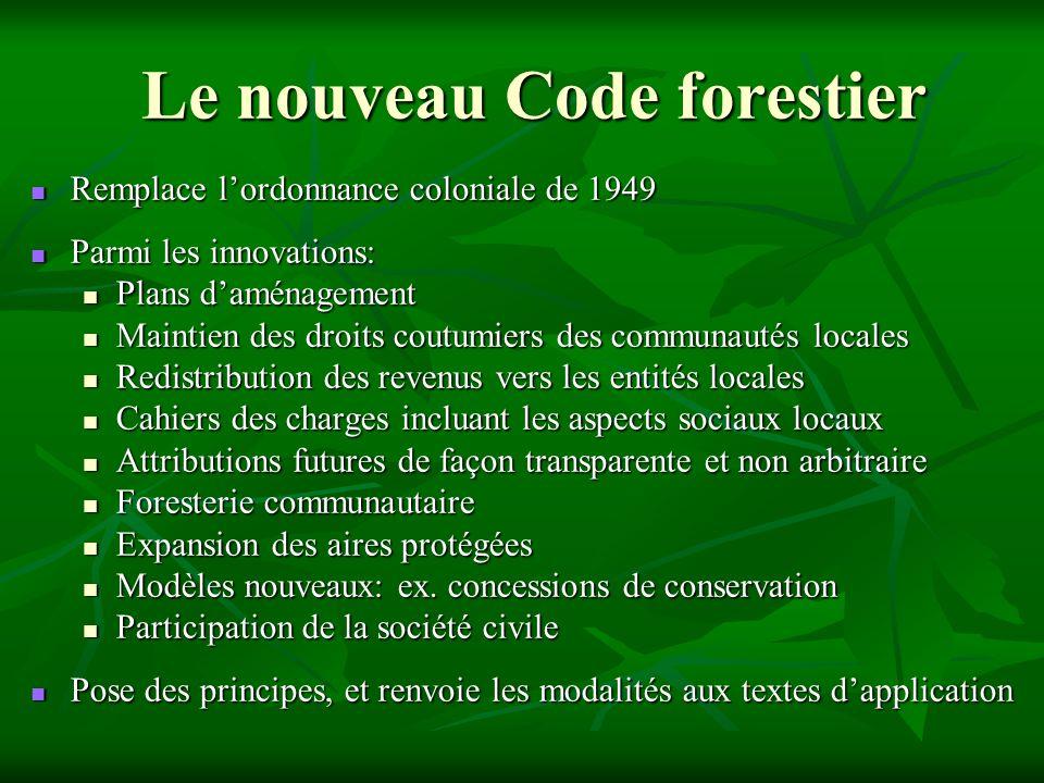 Le nouveau Code forestier Remplace lordonnance coloniale de 1949 Remplace lordonnance coloniale de 1949 Parmi les innovations: Parmi les innovations: