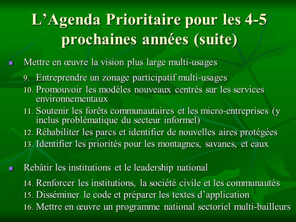 LAgenda Prioritaire pour les 4-5 prochaines années (suite) Mettre en œuvre la vision plus large multi-usages Mettre en œuvre la vision plus large mult