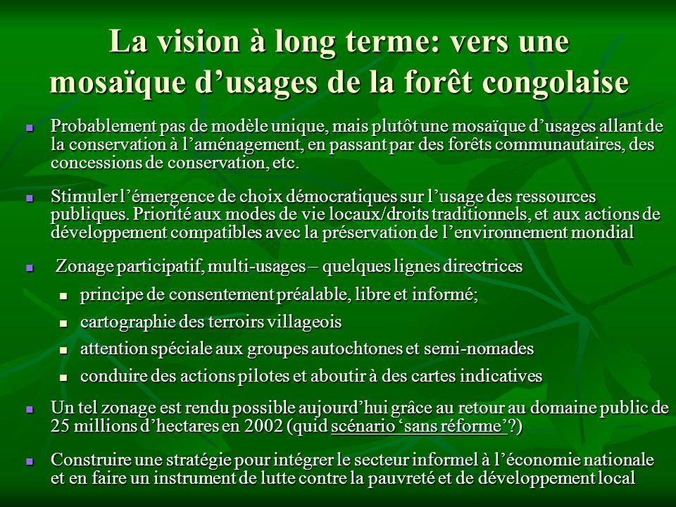 La vision à long terme: vers une mosaïque dusages de la forêt congolaise Probablement pas de modèle unique, mais plutôt une mosaïque dusages allant de la conservation à laménagement, en passant par des forêts communautaires, des concessions de conservation, etc.