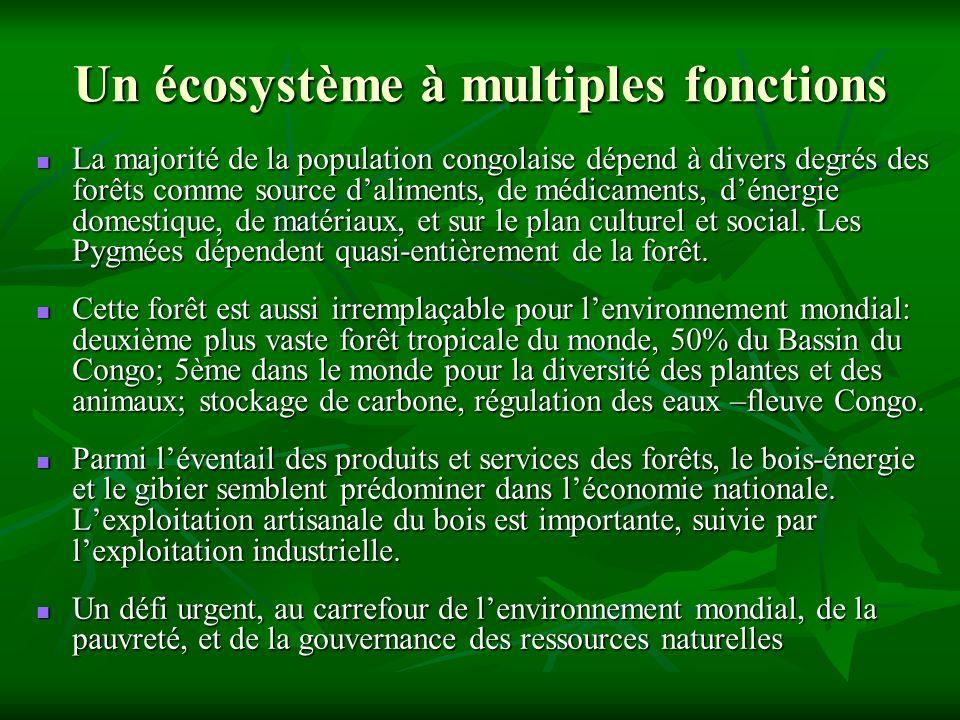 Un écosystème à multiples fonctions La majorité de la population congolaise dépend à divers degrés des forêts comme source daliments, de médicaments, dénergie domestique, de matériaux, et sur le plan culturel et social.