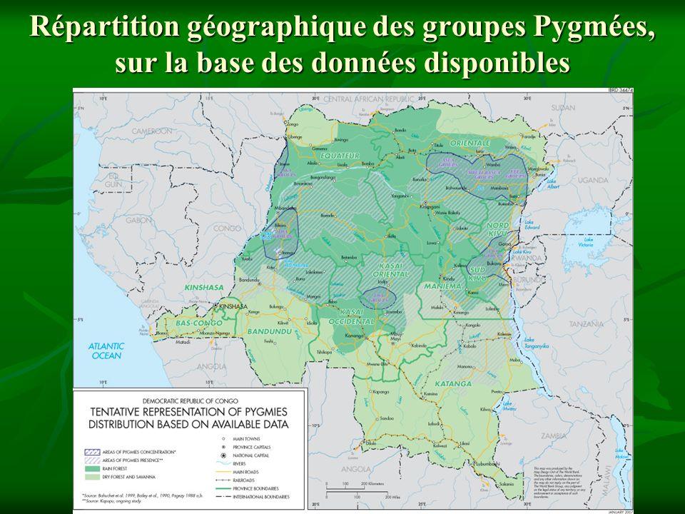 Répartition géographique des groupes Pygmées, sur la base des données disponibles