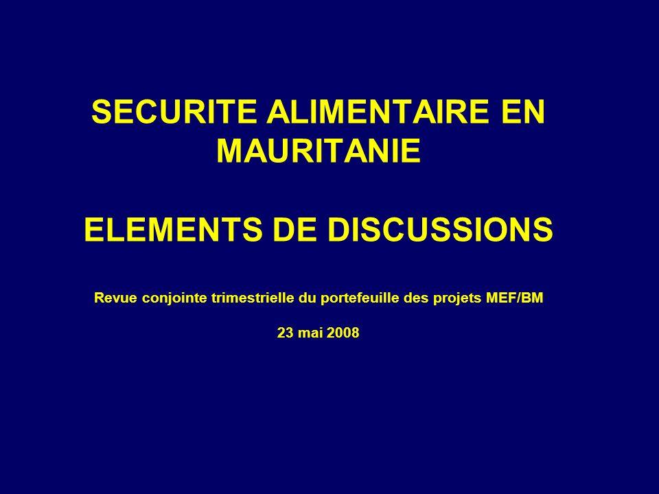 SECURITE ALIMENTAIRE EN MAURITANIE ELEMENTS DE DISCUSSIONS Revue conjointe trimestrielle du portefeuille des projets MEF/BM 23 mai 2008