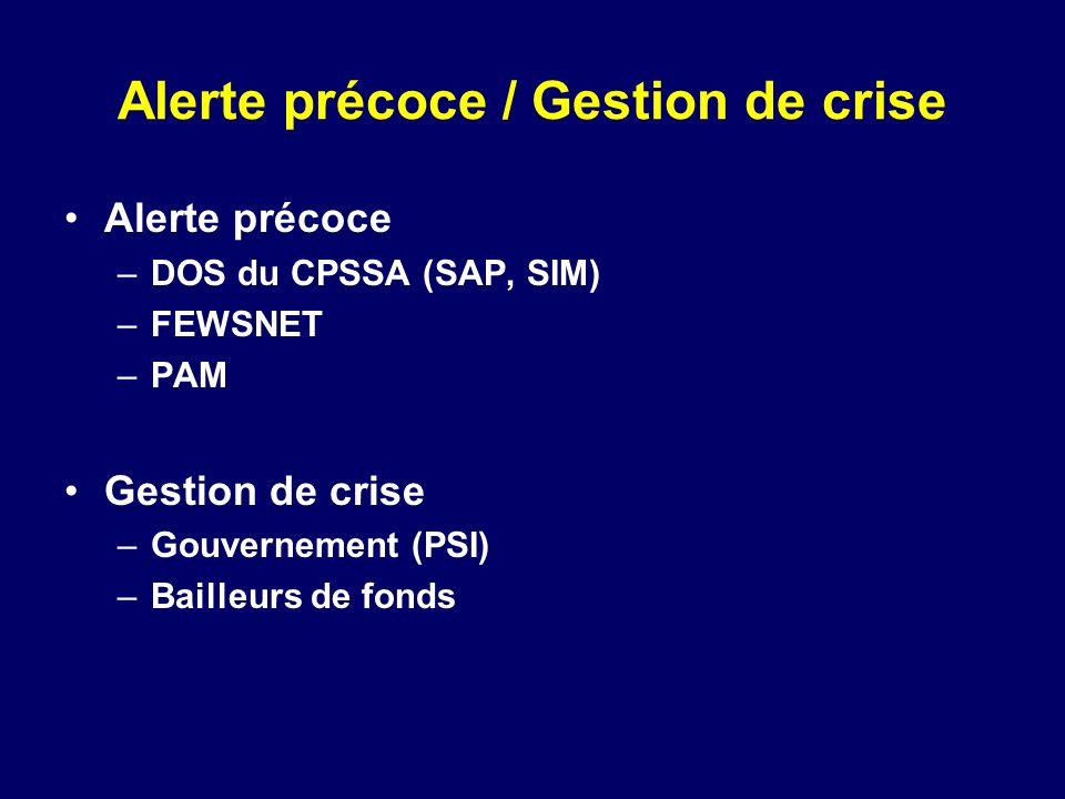 Alerte précoce / Gestion de crise Alerte précoce –DOS du CPSSA (SAP, SIM) –FEWSNET –PAM Gestion de crise –Gouvernement (PSI) –Bailleurs de fonds