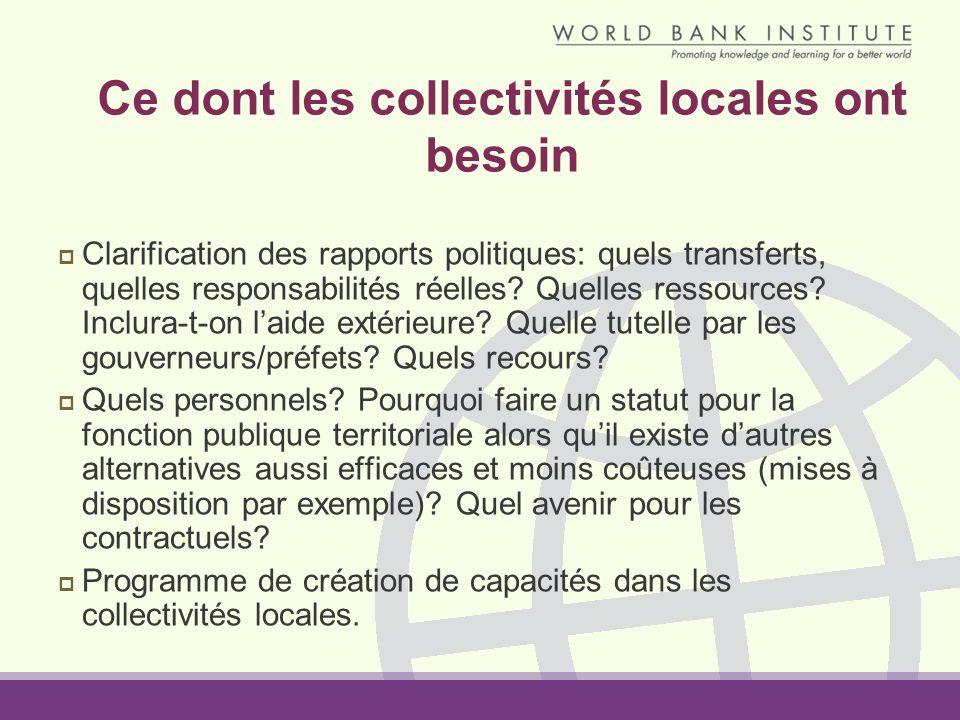 Ce dont les collectivités locales ont besoin Clarification des rapports politiques: quels transferts, quelles responsabilités réelles? Quelles ressour