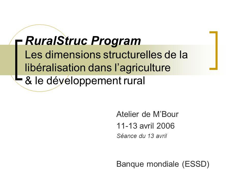 RuralStruc Program Les dimensions structurelles de la libéralisation dans lagriculture & le développement rural Atelier de MBour 11-13 avril 2006 Séance du 13 avril Banque mondiale (ESSD)