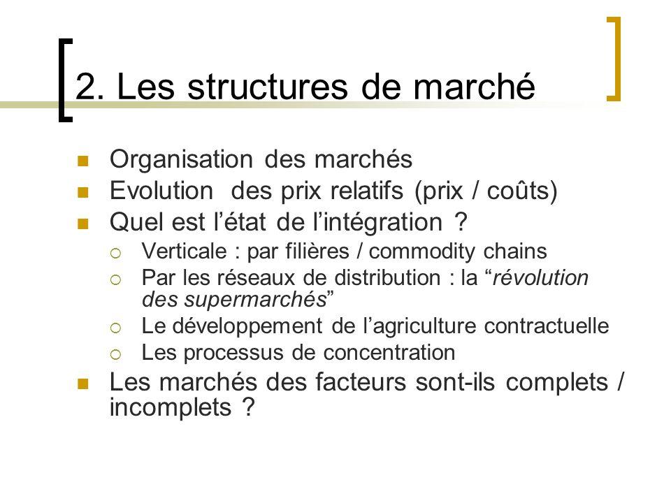 2. Les structures de marché Organisation des marchés Evolution des prix relatifs (prix / coûts) Quel est létat de lintégration ? Verticale : par filiè