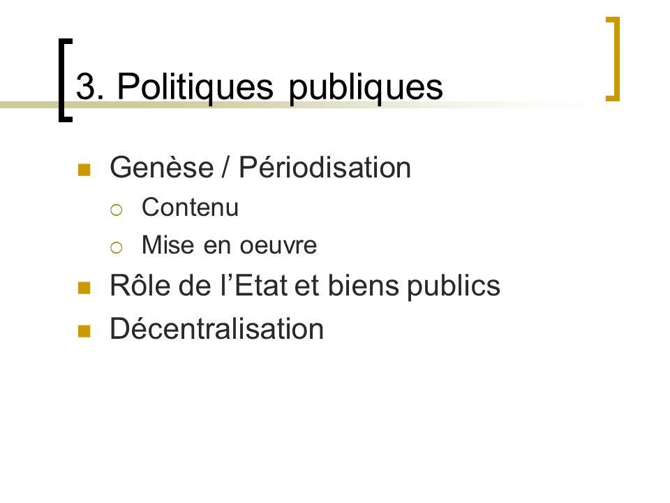 3. Politiques publiques Genèse / Périodisation Contenu Mise en oeuvre Rôle de lEtat et biens publics Décentralisation