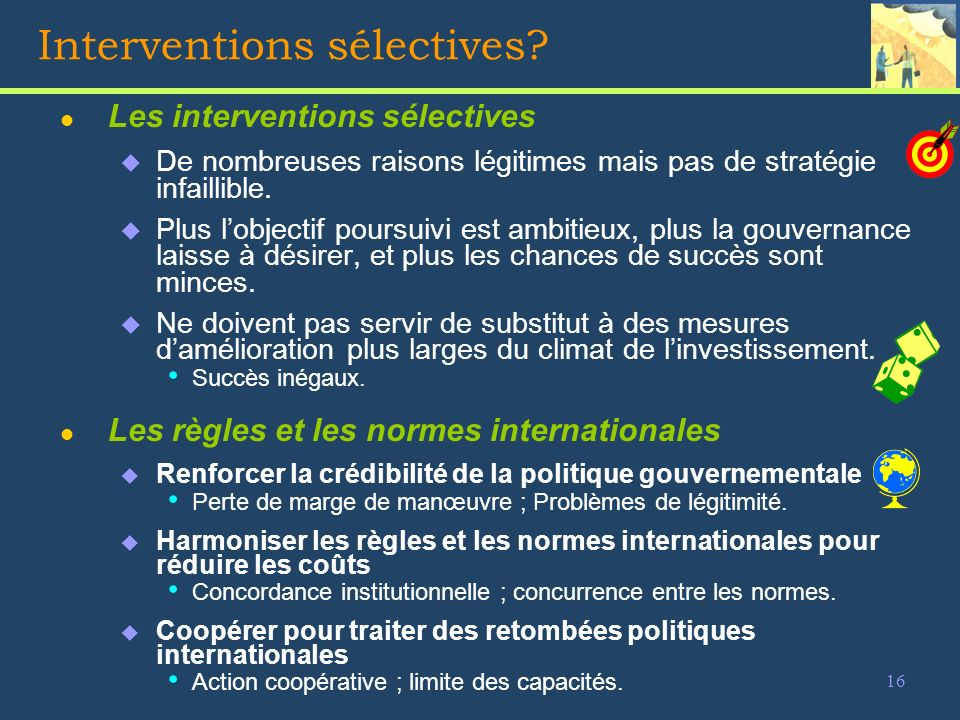 16 Interventions sélectives.