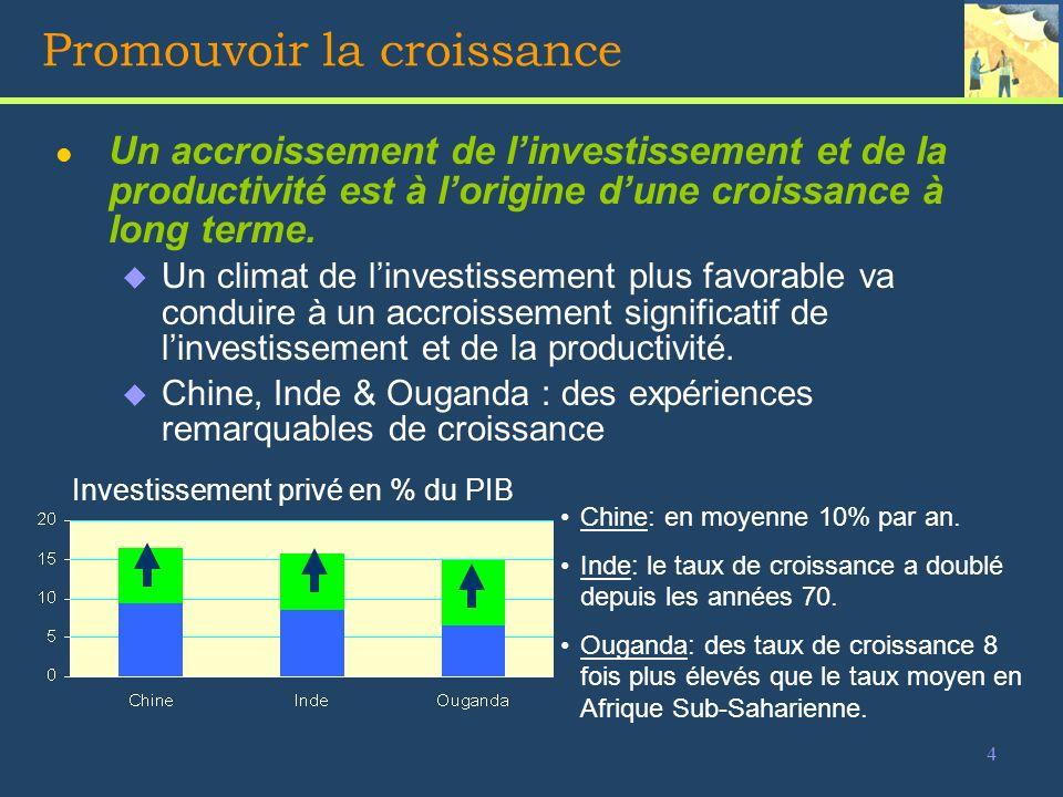 15 Les fondements du climat de linvestissement l Au bénéfice de toutes les entreprises et de toutes les activités de léconomie u Stabilité et Sécurité La paix et la stabilité macro-économique sont essentiels.