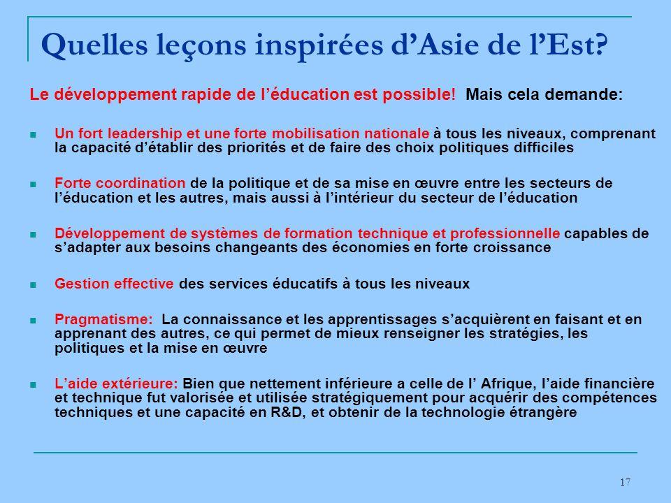 17 Quelles leçons inspirées dAsie de lEst.Le développement rapide de léducation est possible.