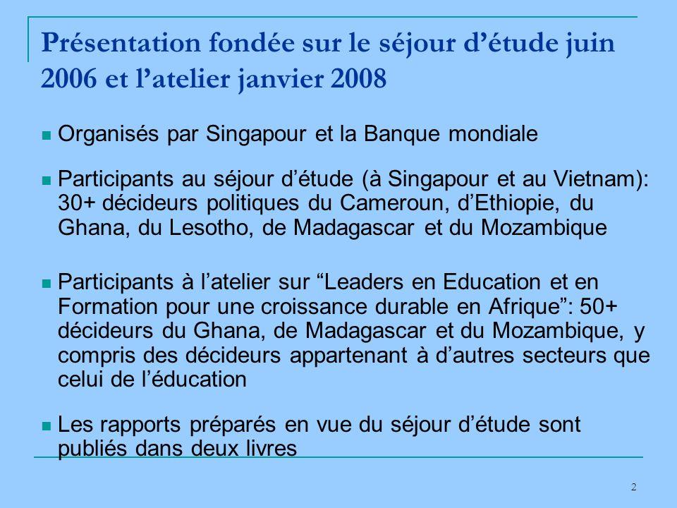 2 Présentation fondée sur le séjour détude juin 2006 et latelier janvier 2008 Organisés par Singapour et la Banque mondiale Participants au séjour détude (à Singapour et au Vietnam): 30+ décideurs politiques du Cameroun, dEthiopie, du Ghana, du Lesotho, de Madagascar et du Mozambique Participants à latelier sur Leaders en Education et en Formation pour une croissance durable en Afrique: 50+ décideurs du Ghana, de Madagascar et du Mozambique, y compris des décideurs appartenant à dautres secteurs que celui de léducation Les rapports préparés en vue du séjour détude sont publiés dans deux livres