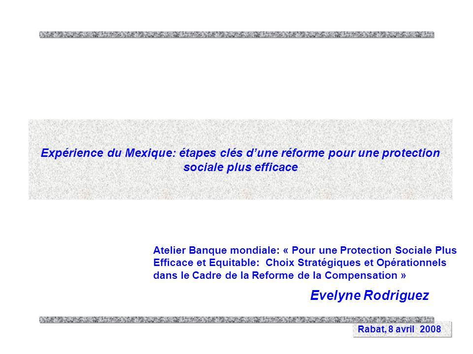 Rabat, 8 avril 2008 Expérience du Mexique: étapes clés dune réforme pour une protection sociale plus efficace Evelyne Rodriguez Atelier Banque mondiale: « Pour une Protection Sociale Plus Efficace et Equitable: Choix Stratégiques et Opérationnels dans le Cadre de la Reforme de la Compensation »