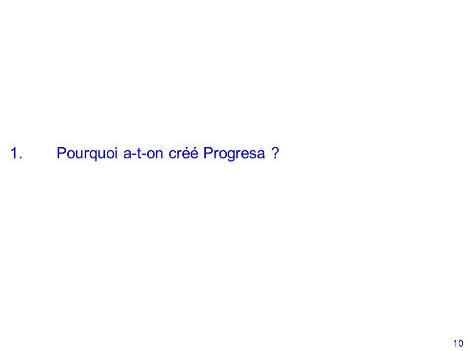 10 1.Pourquoi a-t-on créé Progresa ?