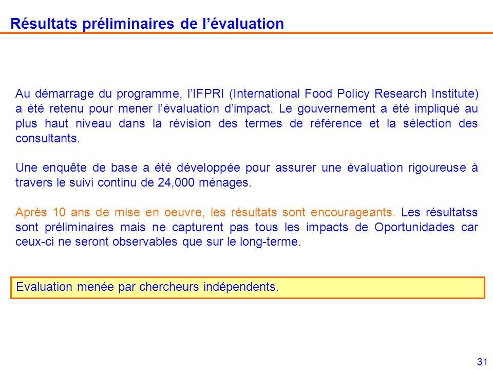 31 Résultats préliminaires de lévaluation Au démarrage du programme, lIFPRI (International Food Policy Research Institute) a été retenu pour mener lévaluation dimpact.