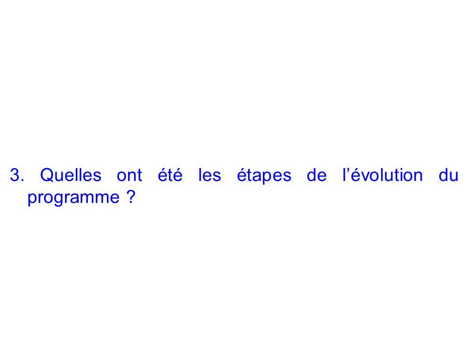 3. Quelles ont été les étapes de lévolution du programme ?