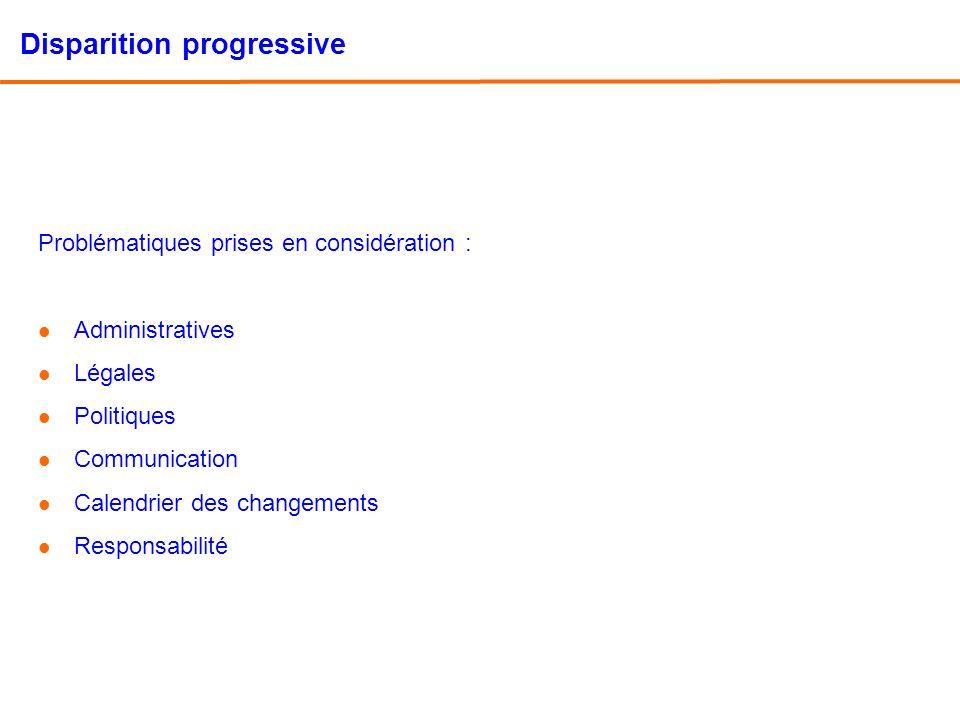 Disparition progressive Problématiques prises en considération : l Administratives l Légales l Politiques l Communication l Calendrier des changements l Responsabilité