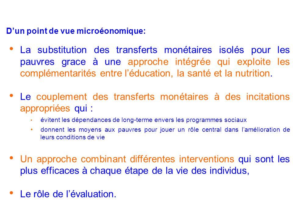 Dun point de vue microéonomique: La substitution des transferts monétaires isolés pour les pauvres grace à une approche intégrée qui exploite les complémentarités entre léducation, la santé et la nutrition.