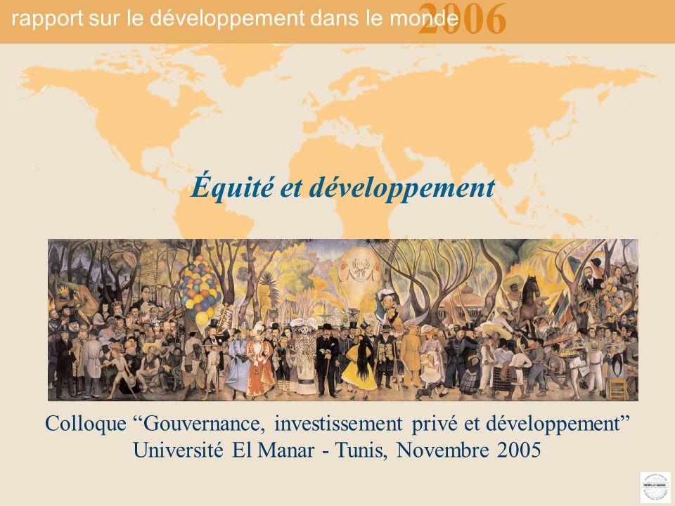 2006 rapport sur le développement du monde Équité et développement 1 Colloque Gouvernance, investissement privé et développement Université El Manar - Tunis, Novembre 2005 Équité et développement 2006 rapport sur le développement dans le monde