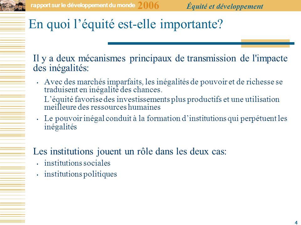 2006 rapport sur le développement du monde Équité et développement 4 En quoi léquité est-elle importante.