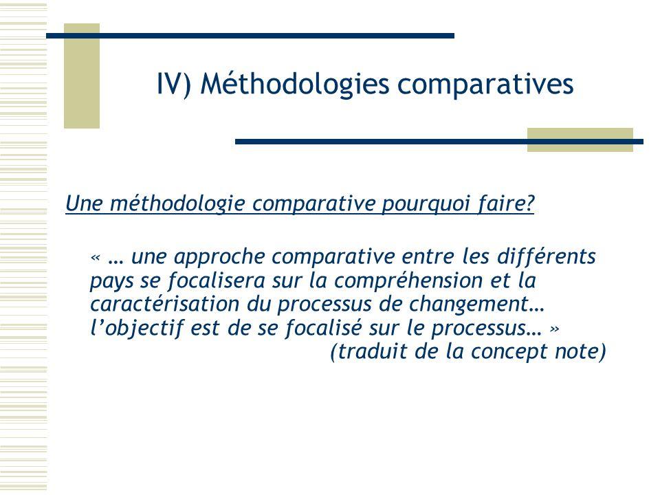 IV) Méthodologies comparatives Une méthodologie comparative pourquoi faire? « … une approche comparative entre les différents pays se focalisera sur l