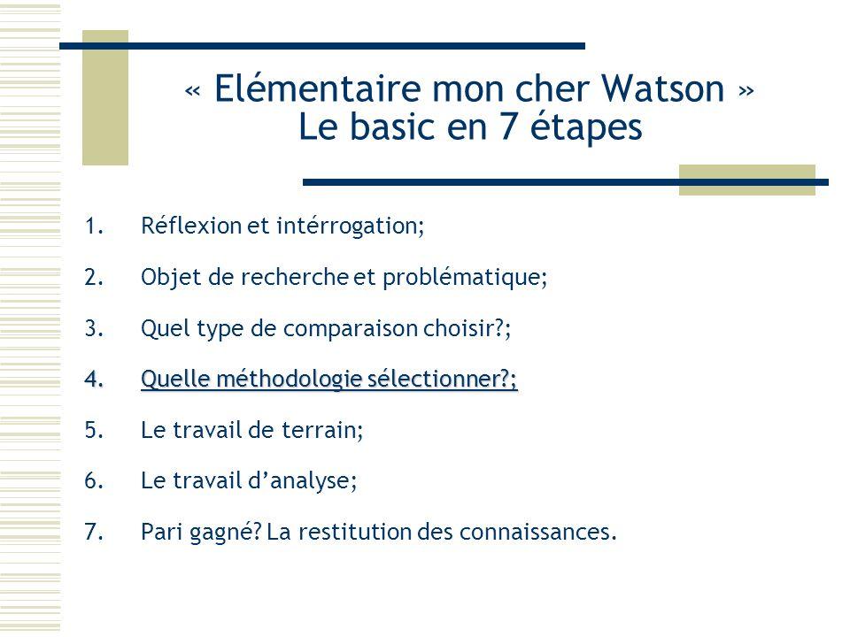 « Elémentaire mon cher Watson » Le basic en 7 étapes 1.Réflexion et intérrogation; 2.Objet de recherche et problématique; 3.Quel type de comparaison c