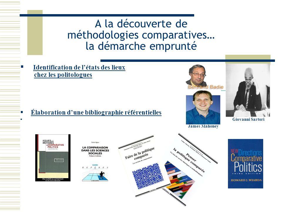 A la découverte de méthodologies comparatives… la démarche emprunté Identification de létats des lieux chez les politologues Élaboration dune bibliogr