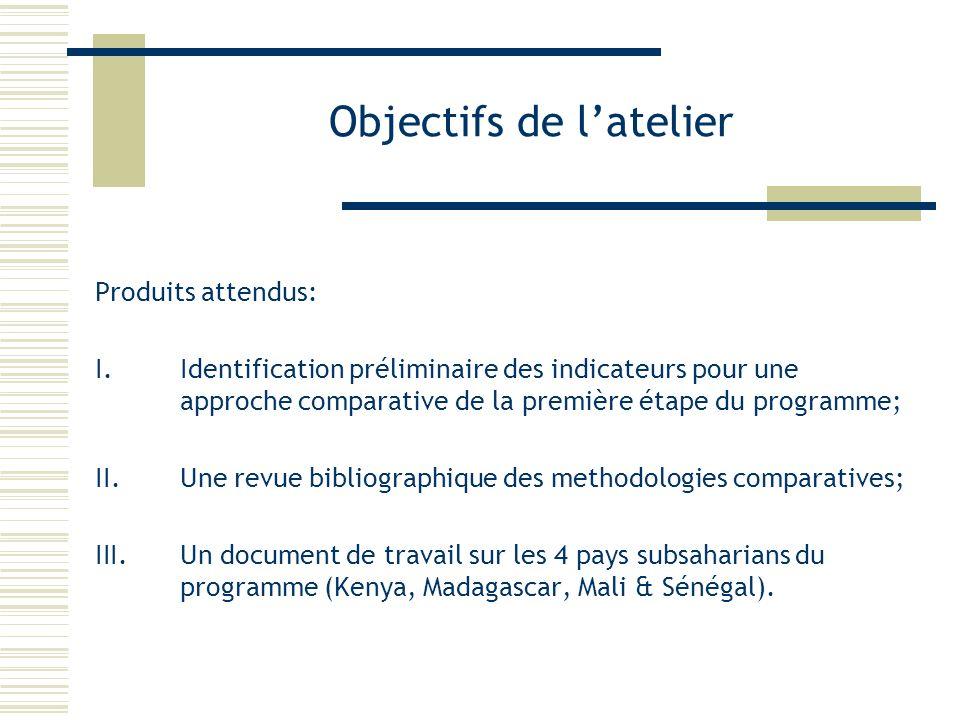 Objectifs de latelier Produits attendus: I.Identification préliminaire des indicateurs pour une approche comparative de la première étape du programme