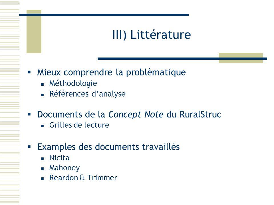 III) Littérature Mieux comprendre la problèmatique Méthodologie Références danalyse Documents de la Concept Note du RuralStruc Grilles de lecture Exam