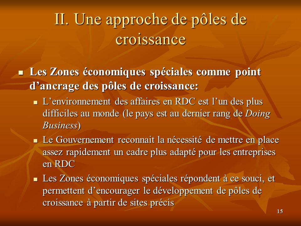 15 II. Une approche de pôles de croissance Les Zones économiques spéciales comme point dancrage des pôles de croissance: Les Zones économiques spécial