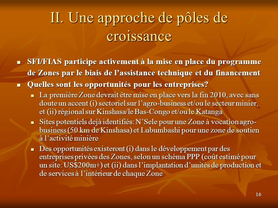 16 II. Une approche de pôles de croissance SFI/FIAS participe activement à la mise en place du programme de Zones par le biais de lassistance techniqu