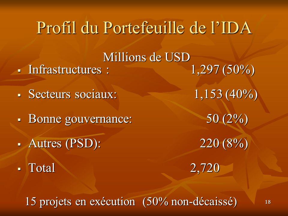 18 Profil du Portefeuille de lIDA Millions de USD Infrastructures : 1,297 (50%) Infrastructures : 1,297 (50%) Secteurs sociaux: 1,153 (40%) Secteurs s