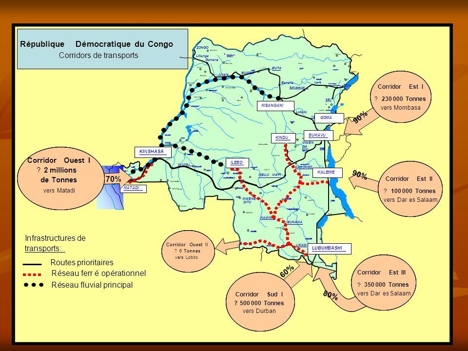 Routes prioritaires Réseau ferréopérationnel Réseau fluvial principal Infrastructures de transports: République Démocratique du Congo Corridors de tra