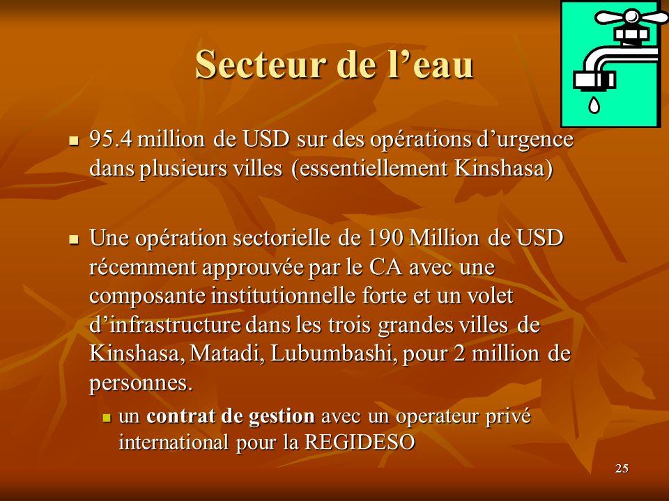 25 Secteur de leau 95.4 million de USD sur des opérations durgence dans plusieurs villes (essentiellement Kinshasa) 95.4 million de USD sur des opérat
