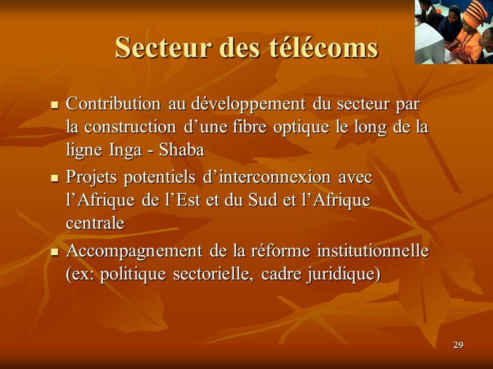 29 Secteur des télécoms Contribution au développement du secteur par la construction dune fibre optique le long de la ligne Inga - Shaba Contribution