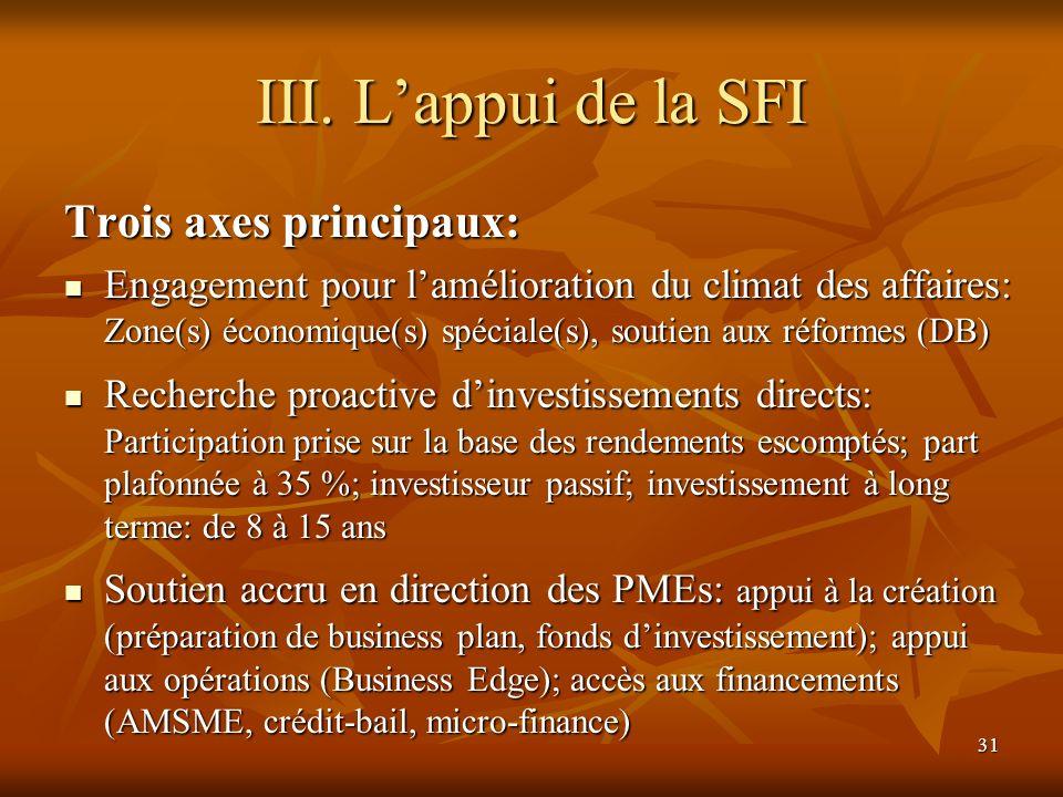 31 III. Lappui de la SFI Trois axes principaux: Engagement pour lamélioration du climat des affaires: Zone(s) économique(s) spéciale(s), soutien aux r