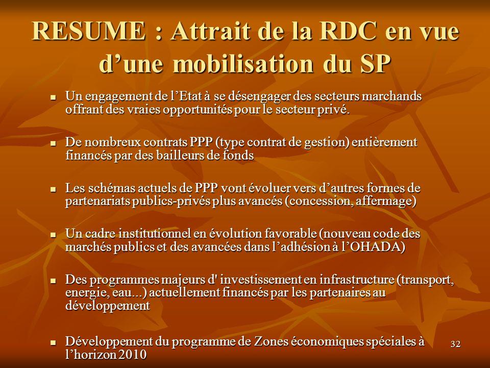 32 RESUME : Attrait de la RDC en vue dune mobilisation du SP Un engagement de lEtat à se désengager des secteurs marchands offrant des vraies opportun