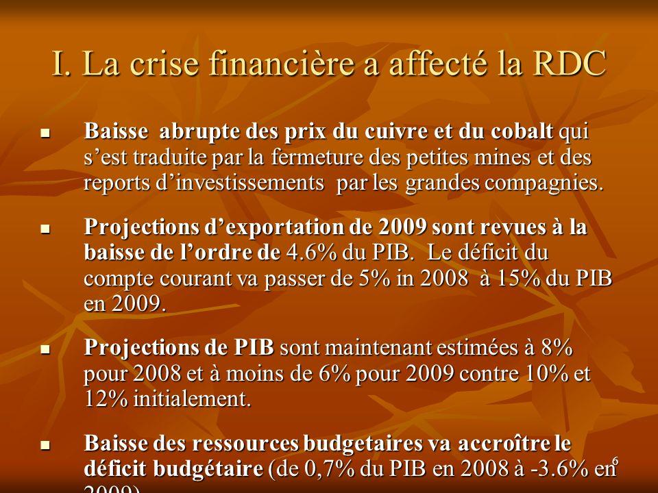 6 I. La crise financière a affecté la RDC Baisse abrupte des prix du cuivre et du cobalt qui sest traduite par la fermeture des petites mines et des r